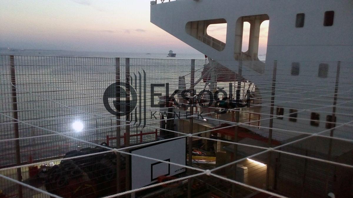 yük gemisi basket sahası ve güvenlik paneli uygulamsı